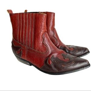 Coyote Western Cowboy Ankle Boots Leather Upper Size 10.5